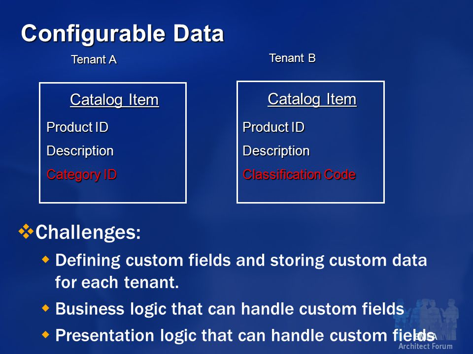EMEA Configurable Data  Challenges:  Defining custom fields and storing custom data for each tenant.