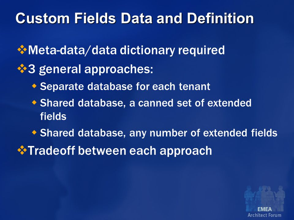 EMEA Custom Fields Data and Definition  Meta-data/data dictionary required  3 general approaches:  Separate database for each tenant  Shared database, a canned set of extended fields  Shared database, any number of extended fields  Tradeoff between each approach