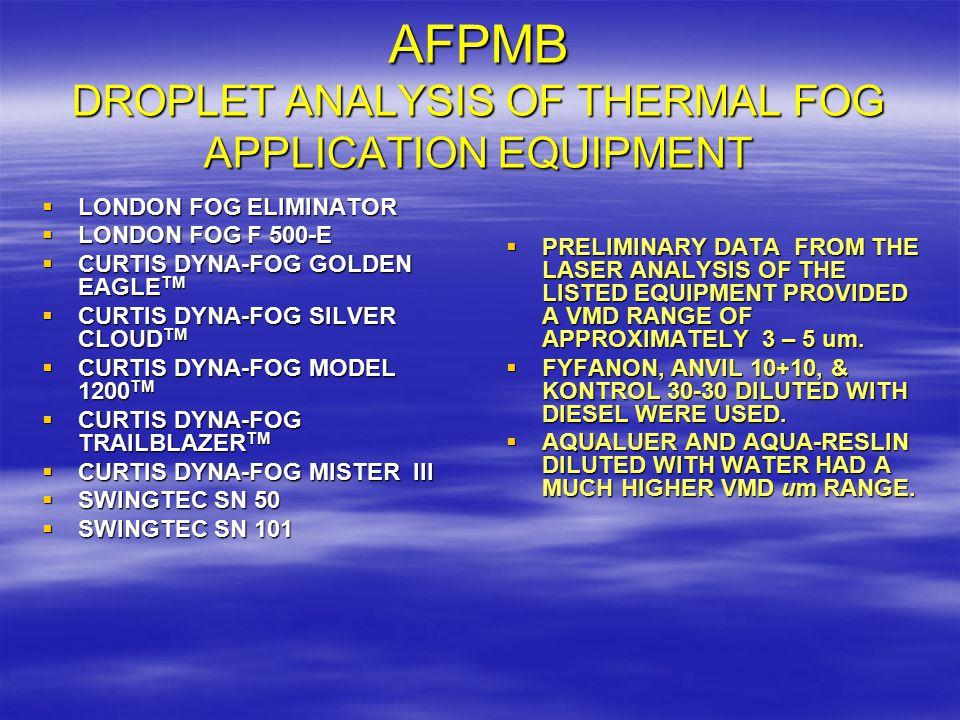 AFPMB DROPLET ANALYSIS OF THERMAL FOG APPLICATION EQUIPMENT  LONDON FOG ELIMINATOR  LONDON FOG F 500-E  CURTIS DYNA-FOG GOLDEN EAGLE TM  CURTIS DY