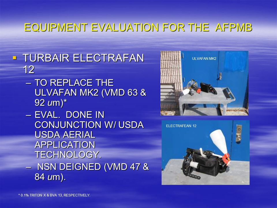 EQUIPMENT EVALUATION FOR THE AFPMB  TURBAIR ELECTRAFAN 12 –TO REPLACE THE ULVAFAN MK2 (VMD 63 & 92 um)* –EVAL.