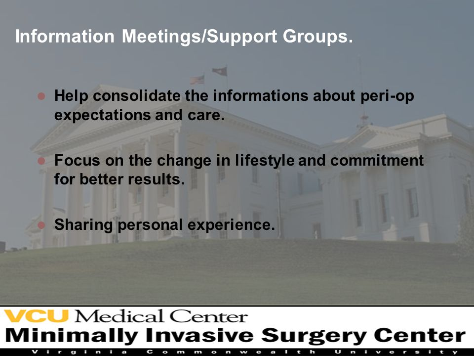 Information Meetings/Support Groups.