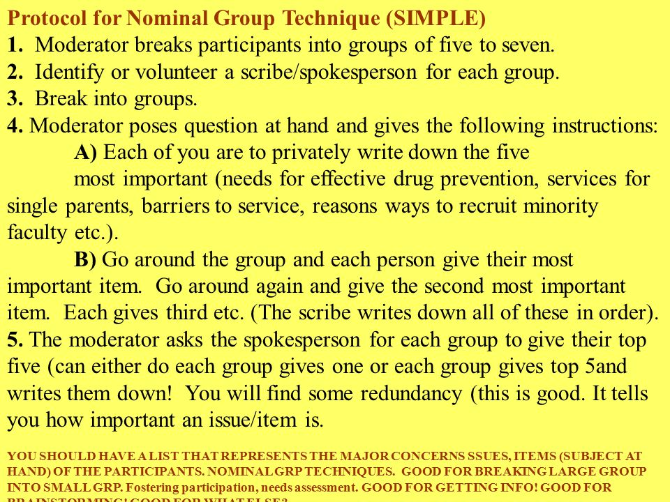 Protocol for Nominal Group Technique (SIMPLE) 1.