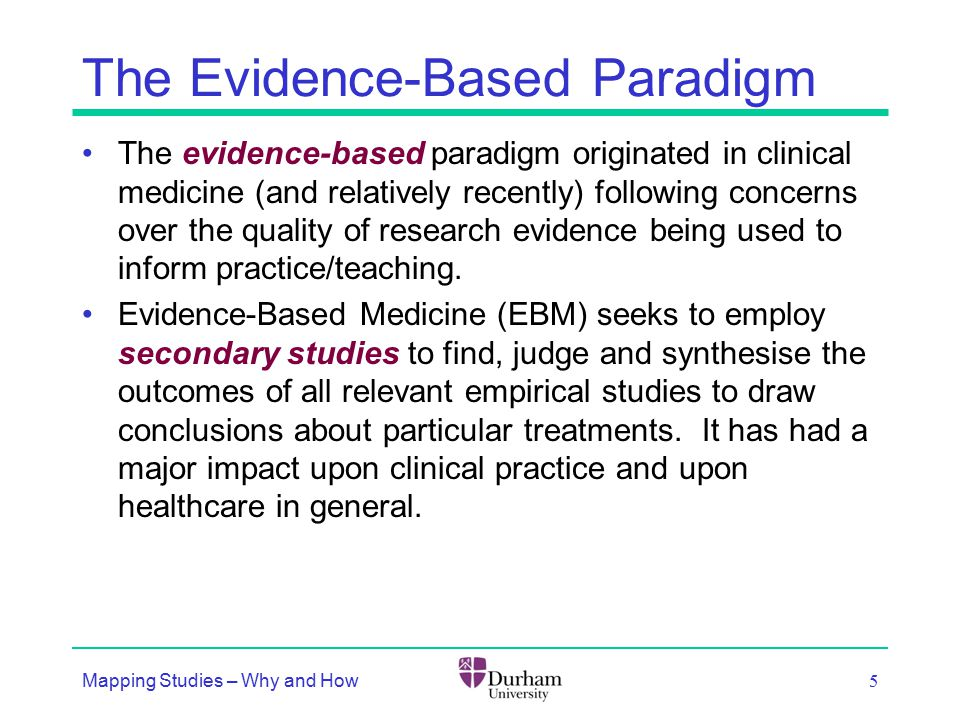 The Evidence-Based Paradigm The evidence-based paradigm originated in clinical medicine (and relatively recently) following concerns over the quality