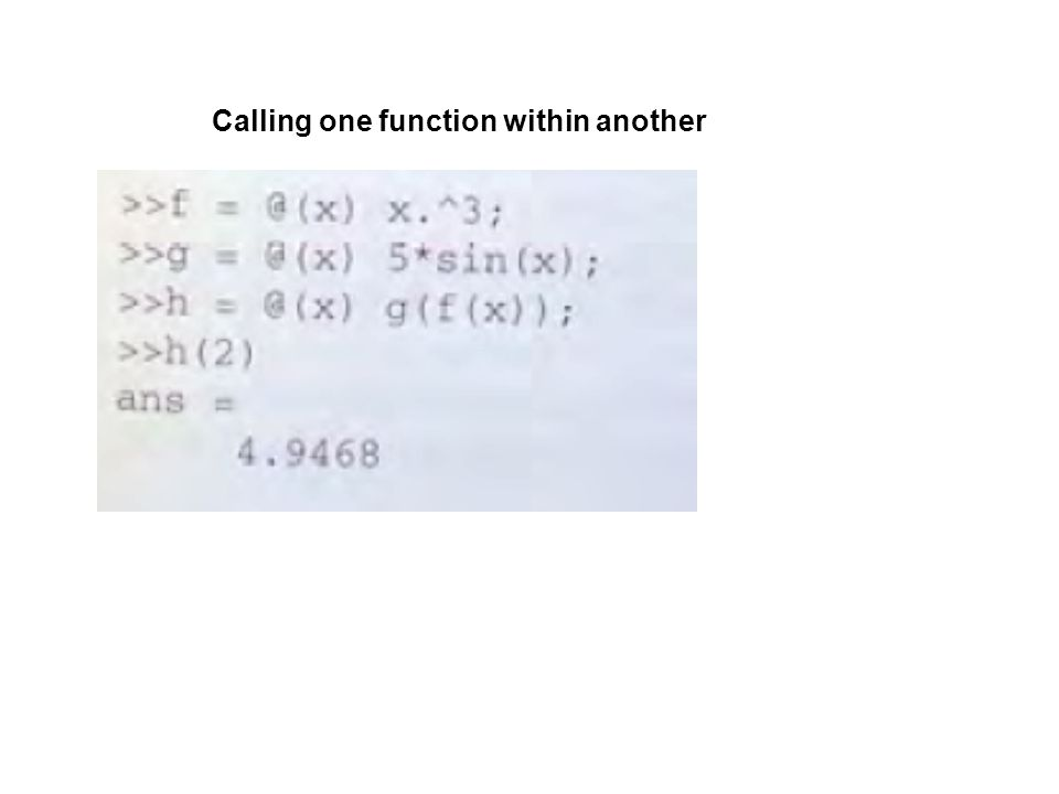 Calling one function within another