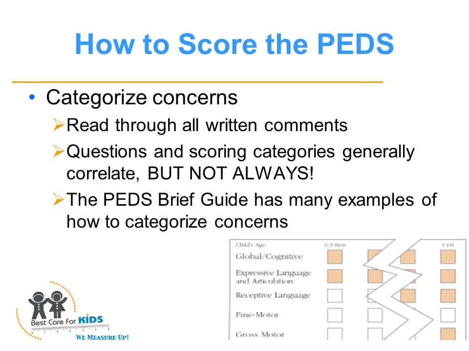 How to Score the PEDS Categorize concerns  Read through all written comments  Questions and scoring categories generally correlate, BUT NOT ALWAYS.