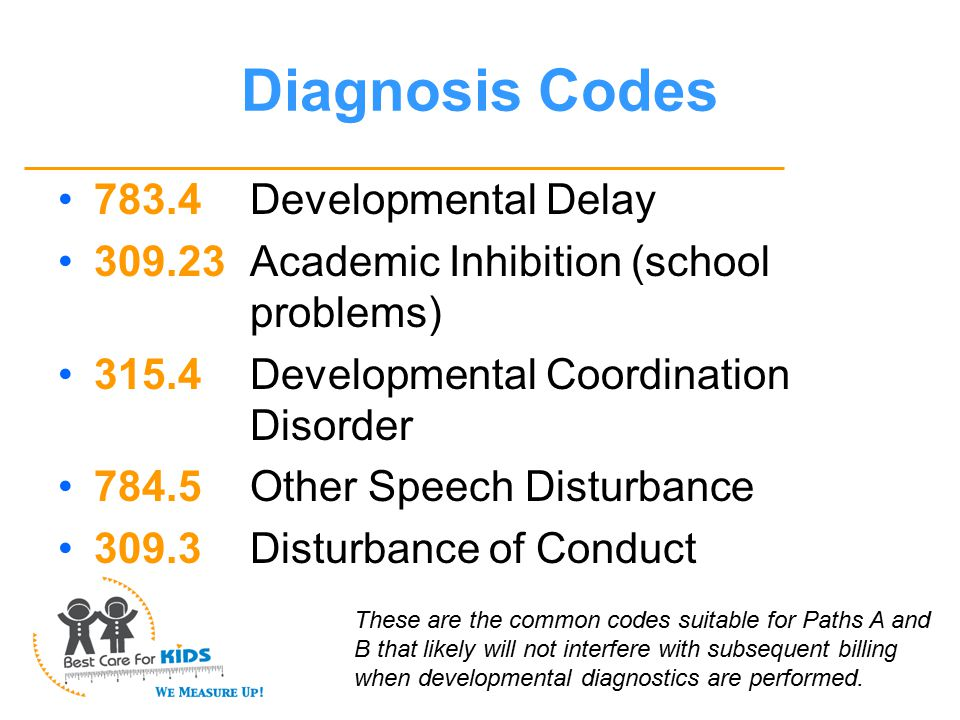 Diagnosis Codes 783.4Developmental Delay 309.23Academic Inhibition (school problems) 315.4Developmental Coordination Disorder 784.5Other Speech Disturbance 309.3Disturbance of Conduct These are the common codes suitable for Paths A and B that likely will not interfere with subsequent billing when developmental diagnostics are performed.