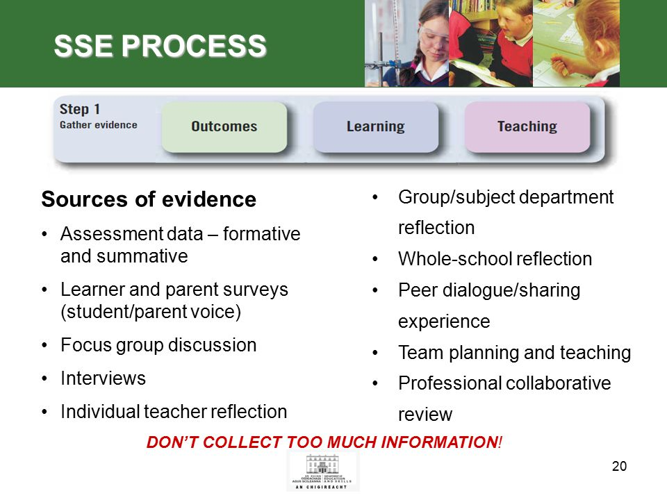 20 SSE PROCESS Sources of evidence Assessment data – formative and summative Learner and parent surveys (student/parent voice) Focus group discussion Interviews Individual teacher reflection Group/subject department reflection Whole-school reflection Peer dialogue/sharing experience Team planning and teaching Professional collaborative review DON'T COLLECT TOO MUCH INFORMATION!