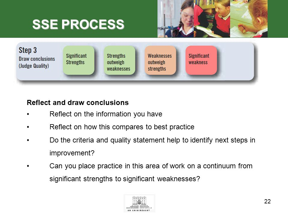 22 SSE PROCESS Reflect and draw conclusions Reflect on the information you have Reflect on how this compares to best practice Do the criteria and quality statement help to identify next steps in improvement.