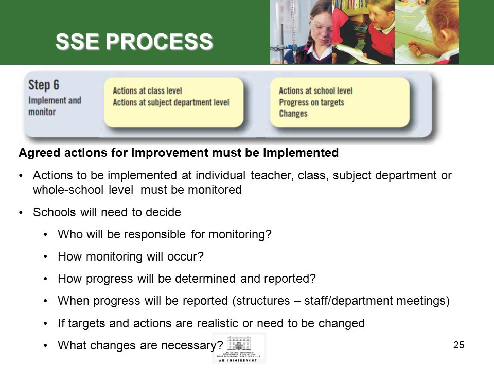 25 SSE PROCESS Agreed actions for improvement must be implemented Actions to be implemented at individual teacher, class, subject department or whole-school level must be monitored Schools will need to decide Who will be responsible for monitoring.