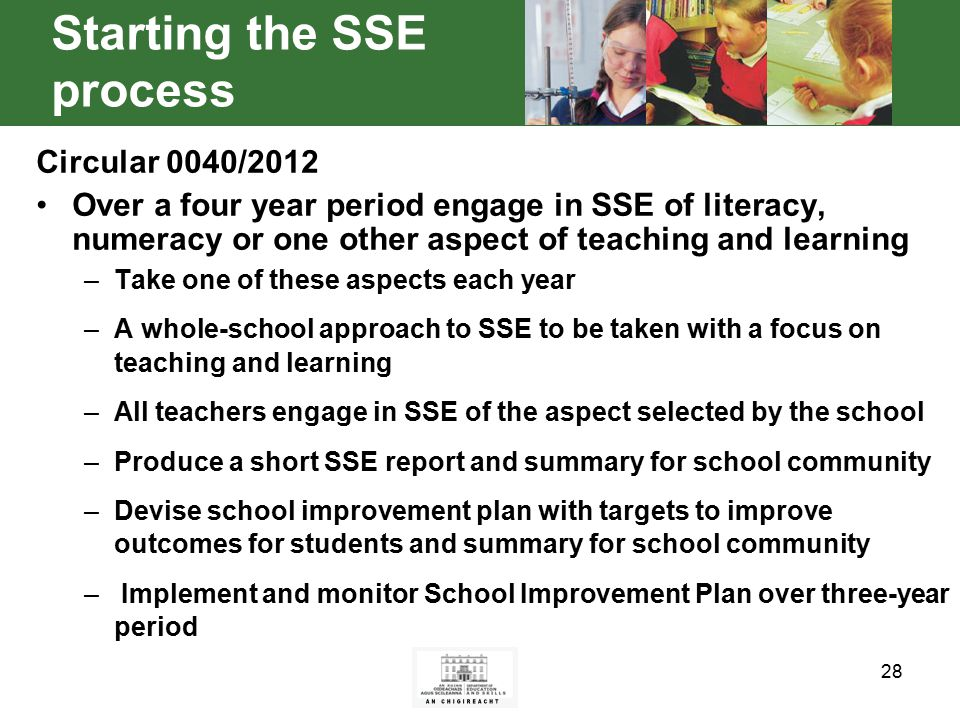 28 Starting the SSE process Circular 0040/2012 Over a four year period engage in SSE of literacy, numeracy or one other aspect of teaching and learning –Take one of these aspects each year –A whole-school approach to SSE to be taken with a focus on teaching and learning –All teachers engage in SSE of the aspect selected by the school –Produce a short SSE report and summary for school community –Devise school improvement plan with targets to improve outcomes for students and summary for school community – Implement and monitor School Improvement Plan over three-year period