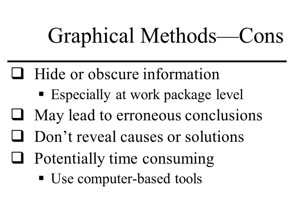 Graphical Methods—Cons  Hide or obscure information  Especially at work package level  May lead to erroneous conclusions  Don't reveal causes or solutions  Potentially time consuming  Use computer-based tools
