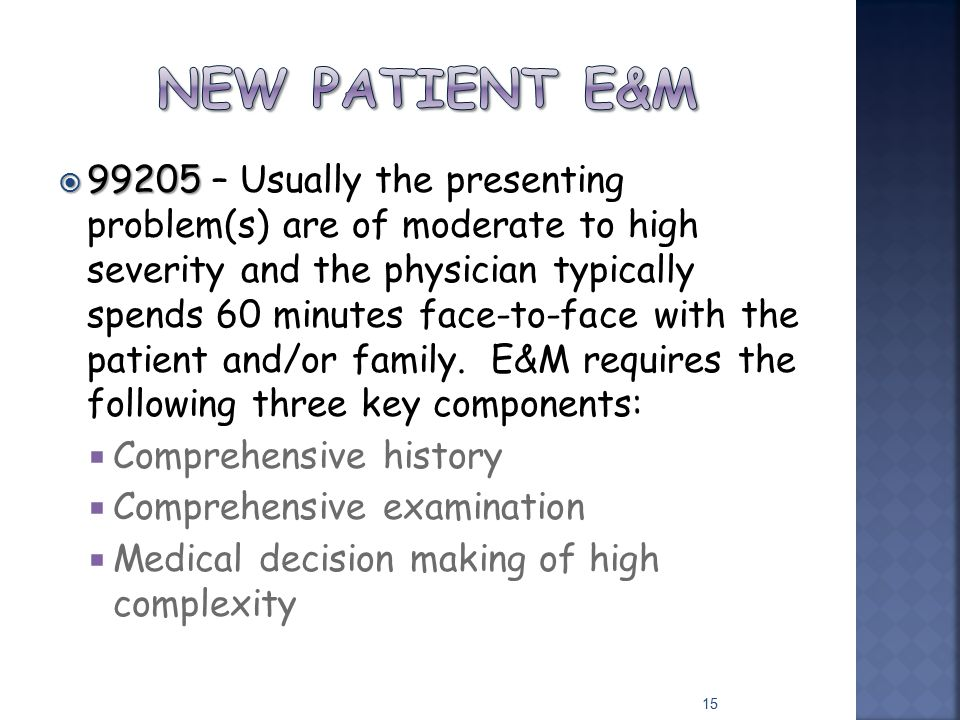  99205  99205 – Usually the presenting problem(s) are of moderate to high severity and the physician typically spends 60 minutes face-to-face with t