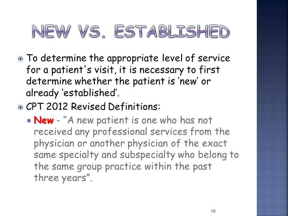  To determine the appropriate level of service for a patient's visit, it is necessary to first determine whether the patient is 'new' or already 'est