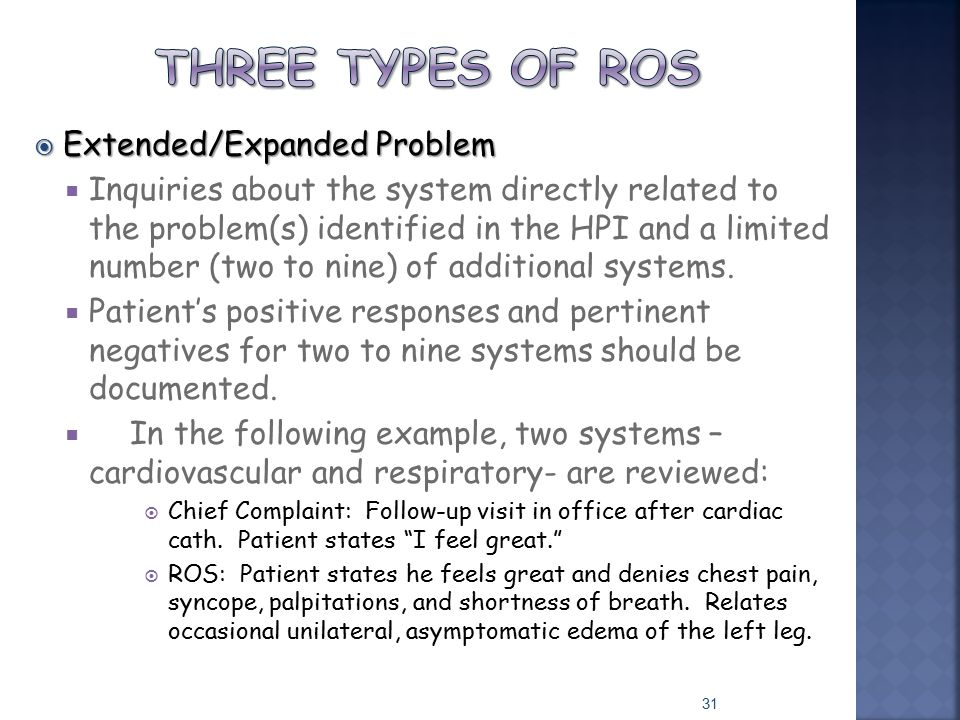  Extended/Expanded Problem  Inquiries about the system directly related to the problem(s) identified in the HPI and a limited number (two to nine) o