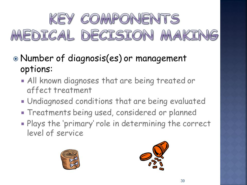  Number of diagnosis(es) or management options:  All known diagnoses that are being treated or affect treatment  Undiagnosed conditions that are be