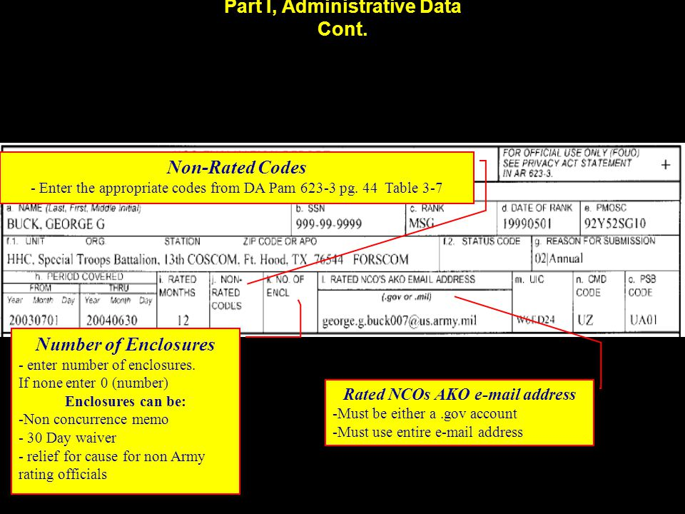 Part I, Administrative Data Cont. Non-Rated Codes - Enter the appropriate codes from DA Pam 623-3 pg. 44 Table 3-7 Number of Enclosures - enter number