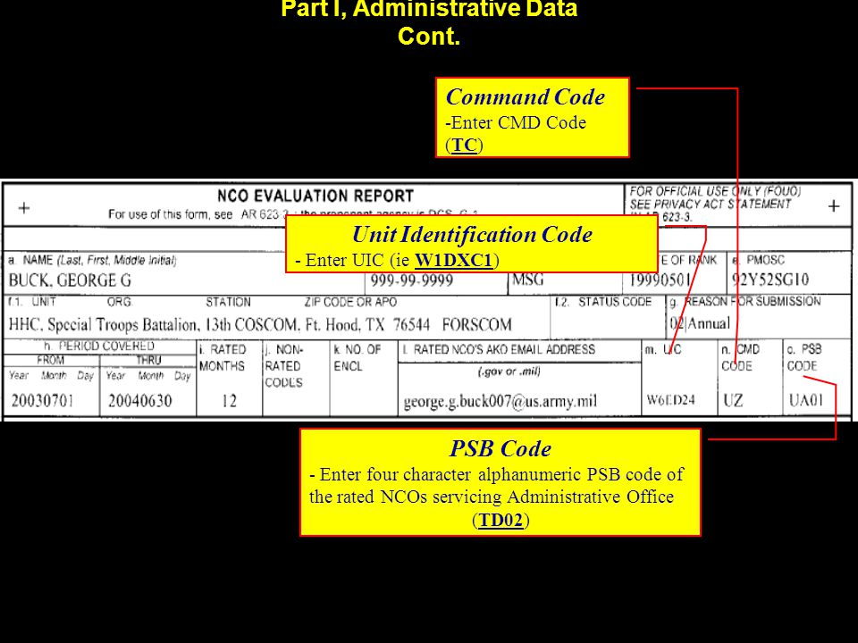 Part I, Administrative Data Cont. Unit Identification Code - Enter UIC (ie W1DXC1) Command Code -Enter CMD Code (TC) PSB Code - Enter four character a