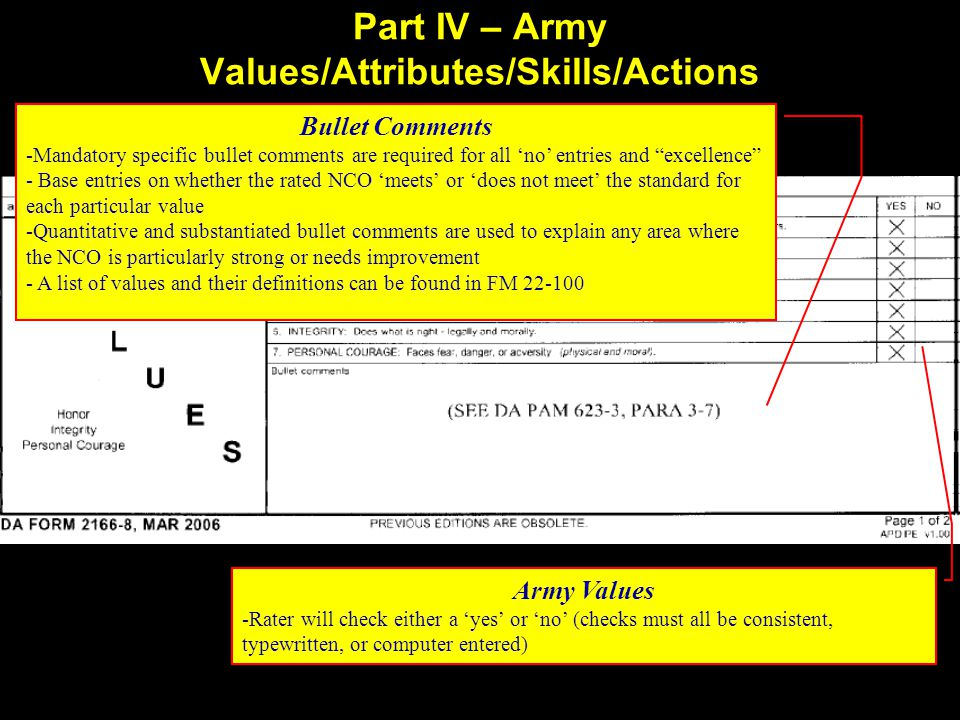 Part IV – Army Values/Attributes/Skills/Actions Army Values -Rater will check either a 'yes' or 'no' (checks must all be consistent, typewritten, or computer entered) - Bullet Comments -Mandatory specific bullet comments are required for all 'no' entries and excellence - Base entries on whether the rated NCO 'meets' or 'does not meet' the standard for each particular value -Quantitative and substantiated bullet comments are used to explain any area where the NCO is particularly strong or needs improvement - A list of values and their definitions can be found in FM 22-100