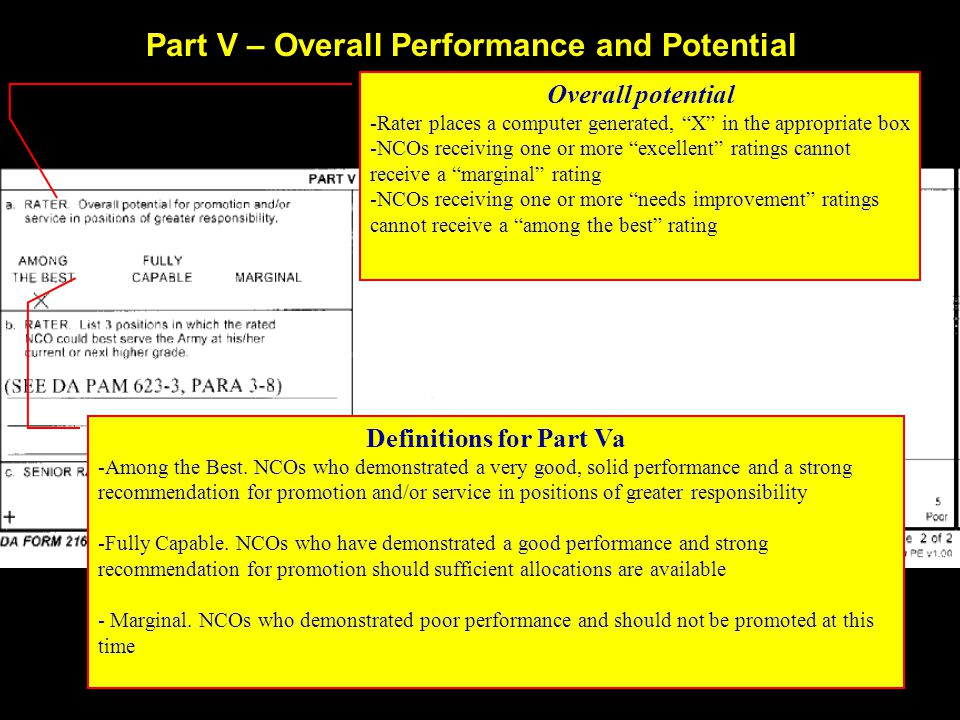 Part V – Overall Performance and Potential Overall potential -Rater places a computer generated, X in the appropriate box -NCOs receiving one or more excellent ratings cannot receive a marginal rating -NCOs receiving one or more needs improvement ratings cannot receive a among the best rating Definitions for Part Va -Among the Best.