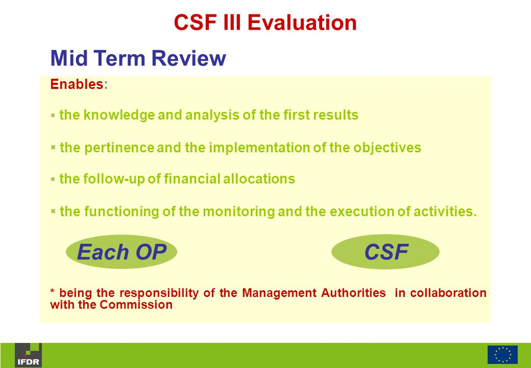 CSF III Evaluation Enables:  the knowledge and analysis of the first results  the pertinence and the implementation of the objectives  the follow-u