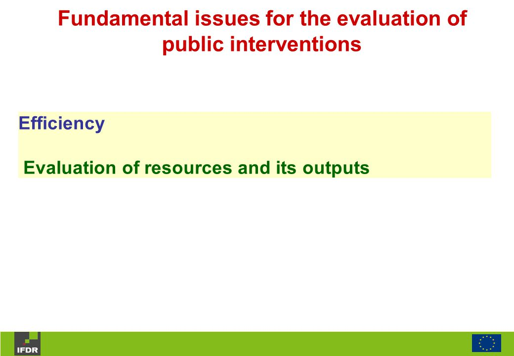 Efficiency Evaluation of resources and its outputs Fundamental issues for the evaluation of public interventions