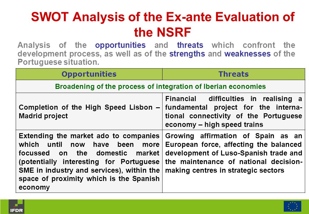 SWOT Analysis of the Ex-ante Evaluation of the NSRF OpportunitiesThreats Broadening of the process of integration of Iberian economies Completion of the High Speed Lisbon – Madrid project Financial difficulties in realising a fundamental project for the interna- tional connectivity of the Portuguese economy – high speed trains Extending the market ado to companies which until now have been more focussed on the domestic market (potentially interesting for Portuguese SME in industry and services), within the space of proximity which is the Spanish economy Growing affirmation of Spain as an European force, affecting the balanced development of Luso-Spanish trade and the maintenance of national decision- making centres in strategic sectors Analysis of the opportunities and threats which confront the development process, as well as of the strengths and weaknesses of the Portuguese situation.