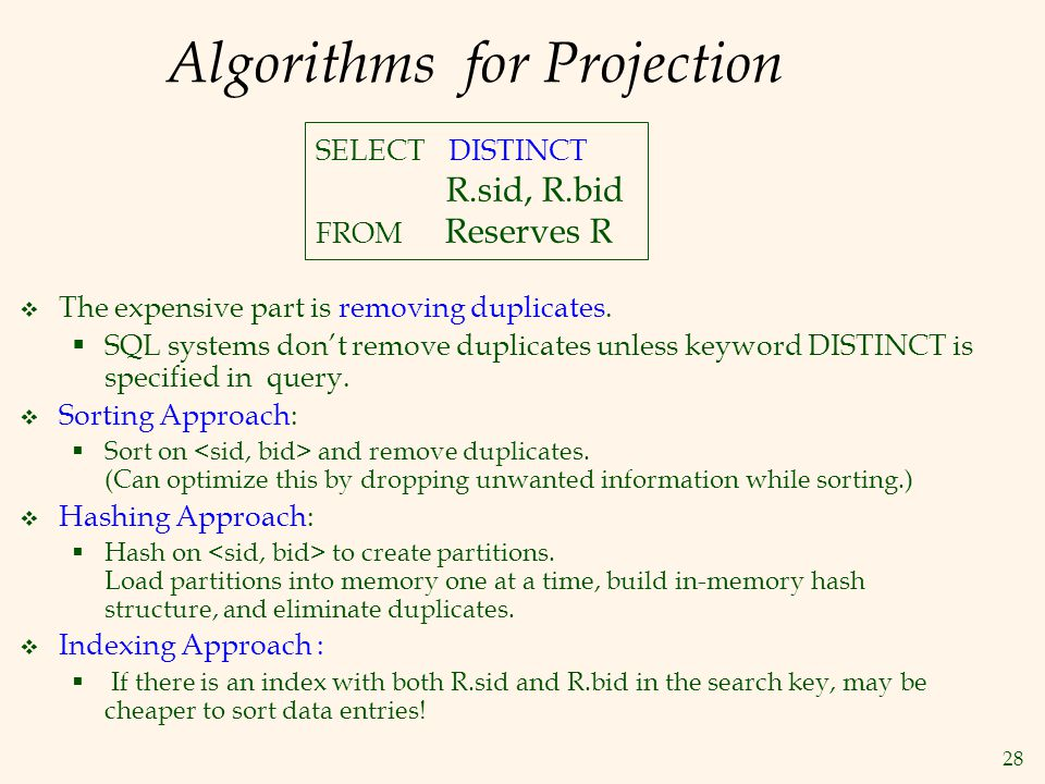28 Algorithms for Projection  The expensive part is removing duplicates.