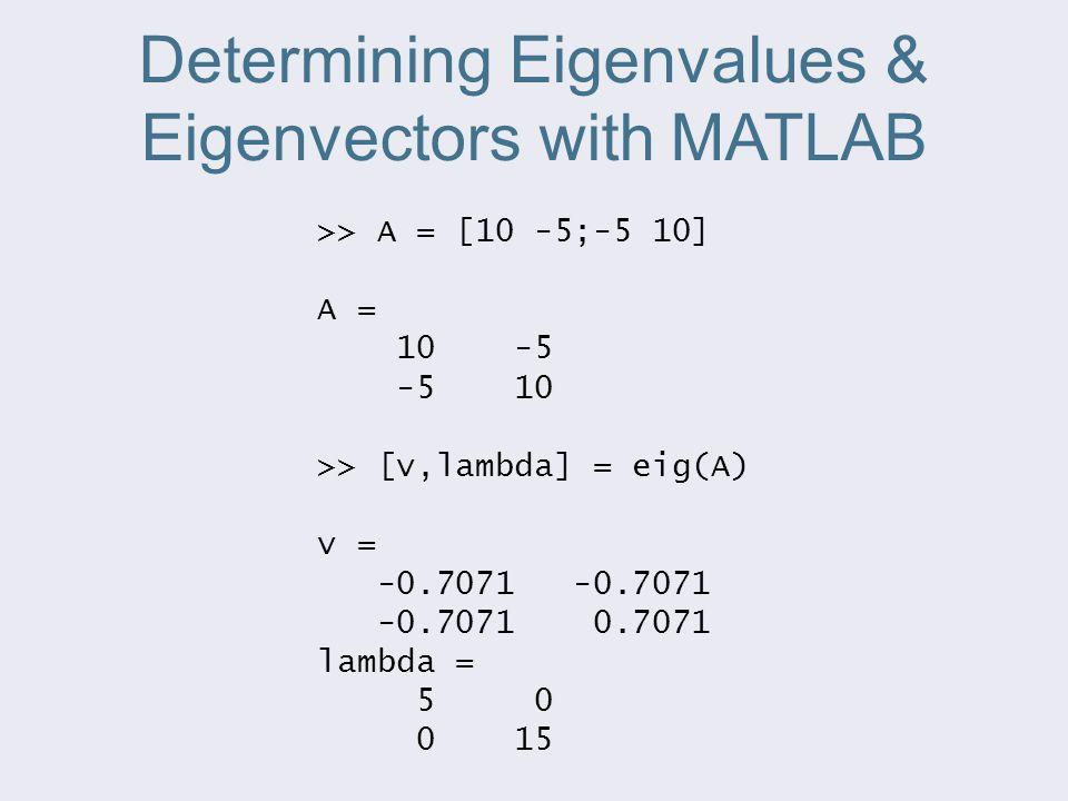 Determining Eigenvalues & Eigenvectors with MATLAB >> A = [10 -5;-5 10] A = 10 -5 -5 10 >> [v,lambda] = eig(A) v = -0.7071 -0.7071 -0.7071 0.7071 lambda = 5 0 0 15