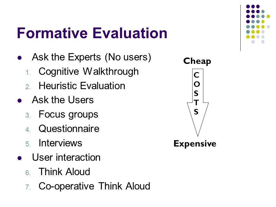 Formative Evaluation Ask the Experts (No users) 1.