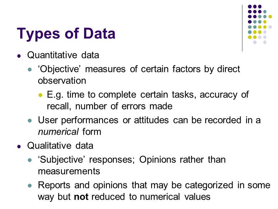 Types of Data Quantitative data 'Objective' measures of certain factors by direct observation E.g.