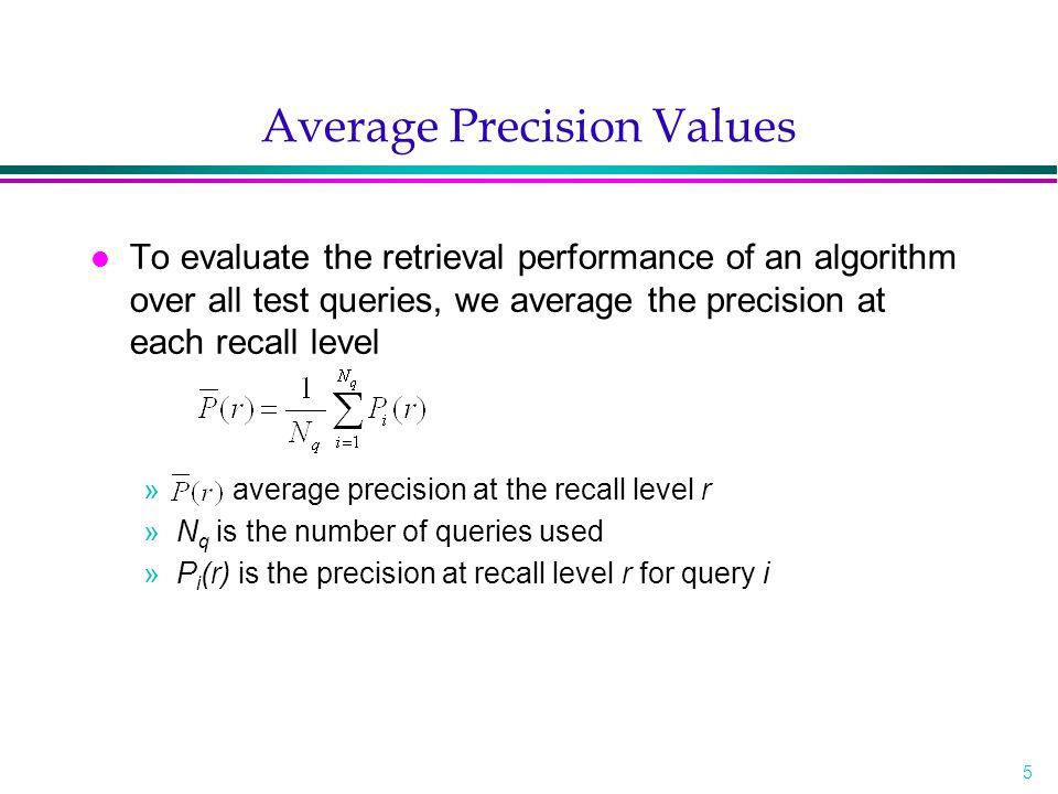 6 Precision Interpolation l Rq={d 3,d 56,d 129 } l Aq={d 123,d 84,d 56,d 6,d 8,d 9,d 511,d 129,d 187,d 25,d 38,d 48,d 250, d 113,d 3 } »R=33%, P=33% »R=66%, P=25% »R=100%, P=20% l Let r j, j in {0, 1, 2, …, 10}, be a reference to the standard j-th recall level.