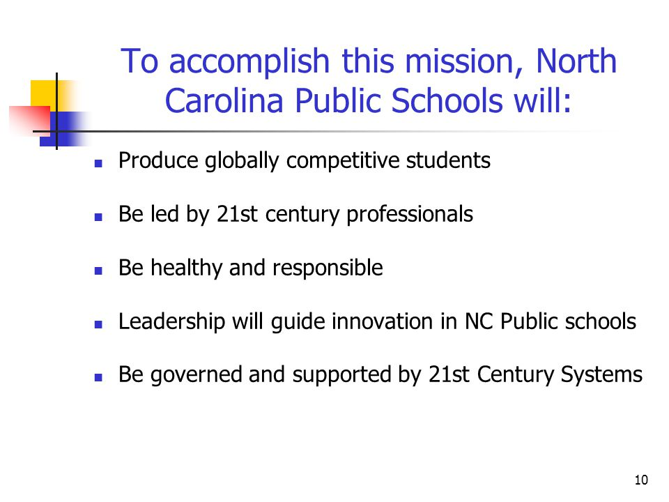 To accomplish this mission, North Carolina Public Schools will: Produce globally competitive students Be led by 21st century professionals Be healthy and responsible Leadership will guide innovation in NC Public schools Be governed and supported by 21st Century Systems 10