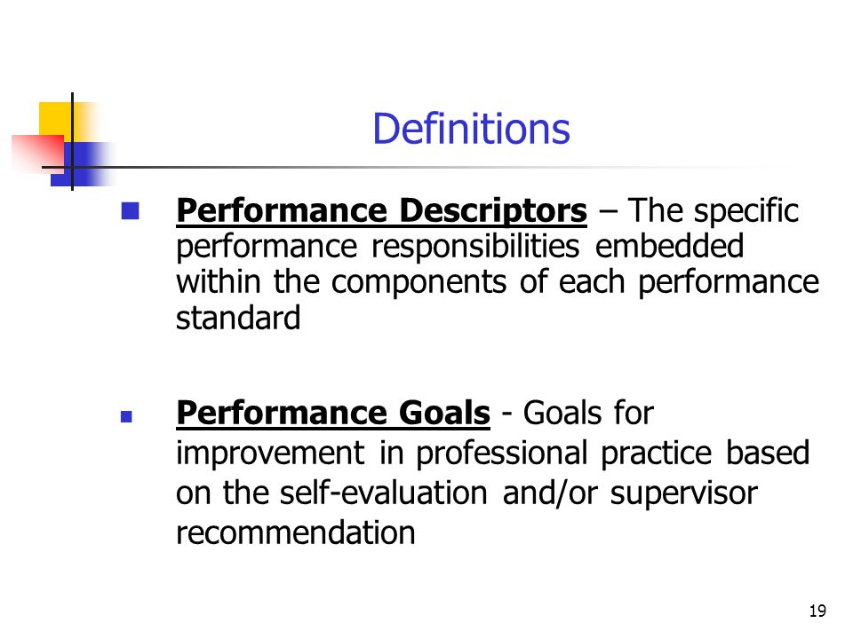 Definitions 18 Informal Observation – An observation of a teacher for a minimum of 20 minutes North Carolina Teacher Rubric – A composite matrix of th