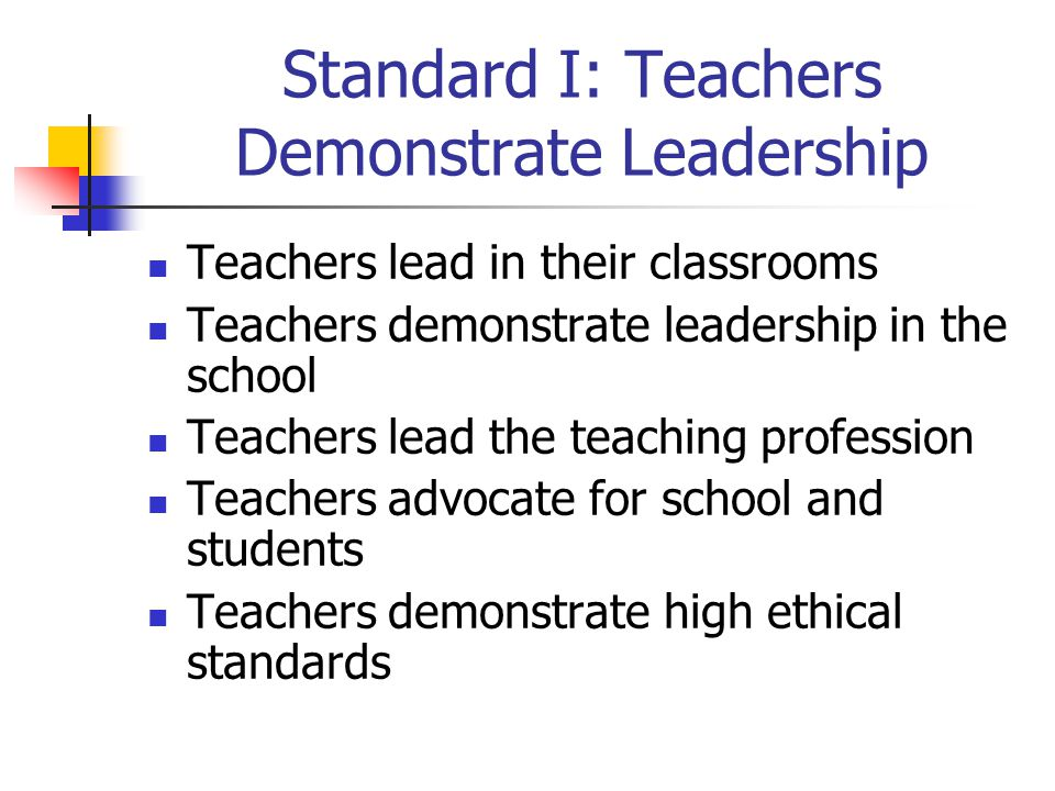 Standard I: Teachers Demonstrate Leadership Teachers lead in their classrooms Teachers demonstrate leadership in the school Teachers lead the teaching profession Teachers advocate for school and students Teachers demonstrate high ethical standards