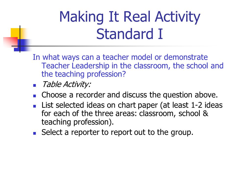 Making It Real Activity Standard I In what ways can a teacher model or demonstrate Teacher Leadership in the classroom, the school and the teaching profession.