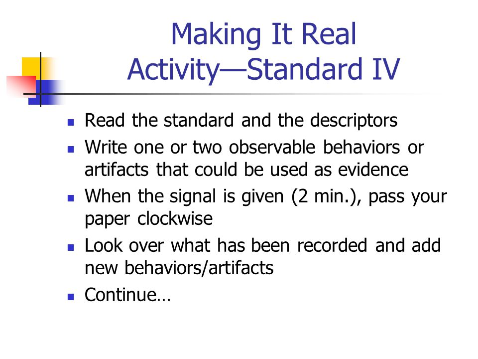 Standard IV: Continued Teachers help students develop critical thinking and problem solving skills Teachers help students work in teams and develop le