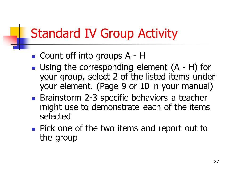 Making It Real Activity—Standard IV Read the standard and the descriptors Write one or two observable behaviors or artifacts that could be used as evi