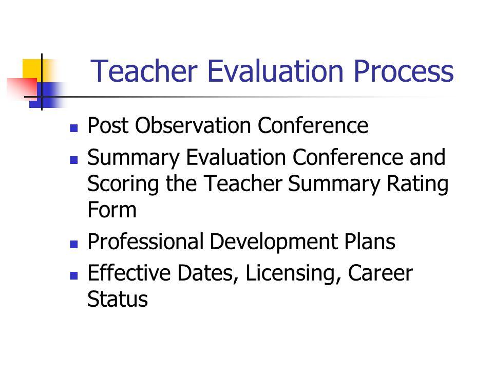 Teacher Evaluation Process  Training  Orientation  Self Assessment Pre Observation Conference Observations