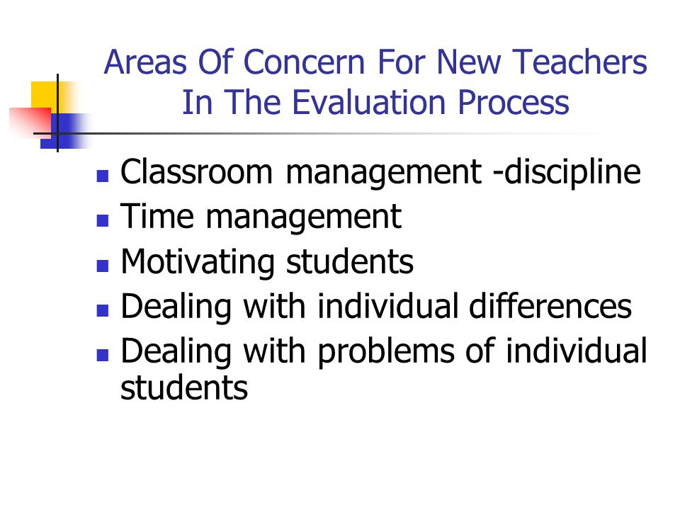 Areas Of Concern For New Teachers In The Evaluation Process Classroom management -discipline Time management Motivating students Dealing with individual differences Dealing with problems of individual students