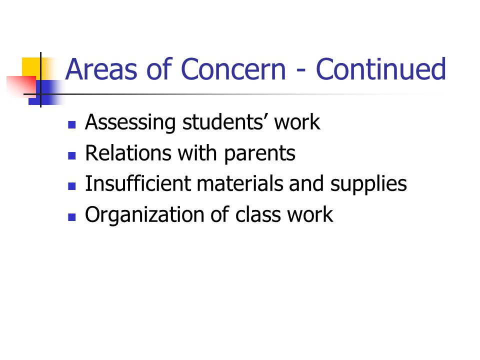 Areas of Concern - Continued Assessing students' work Relations with parents Insufficient materials and supplies Organization of class work