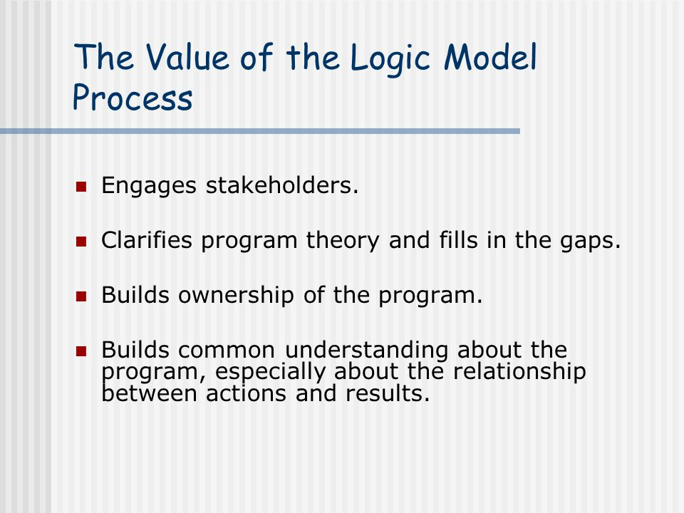 The Value of the Logic Model Process Engages stakeholders.