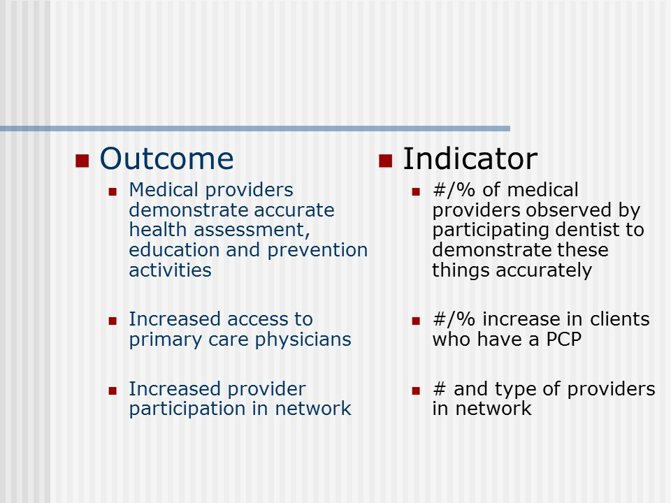 Outcome Medical providers demonstrate accurate health assessment, education and prevention activities Increased access to primary care physicians Incr