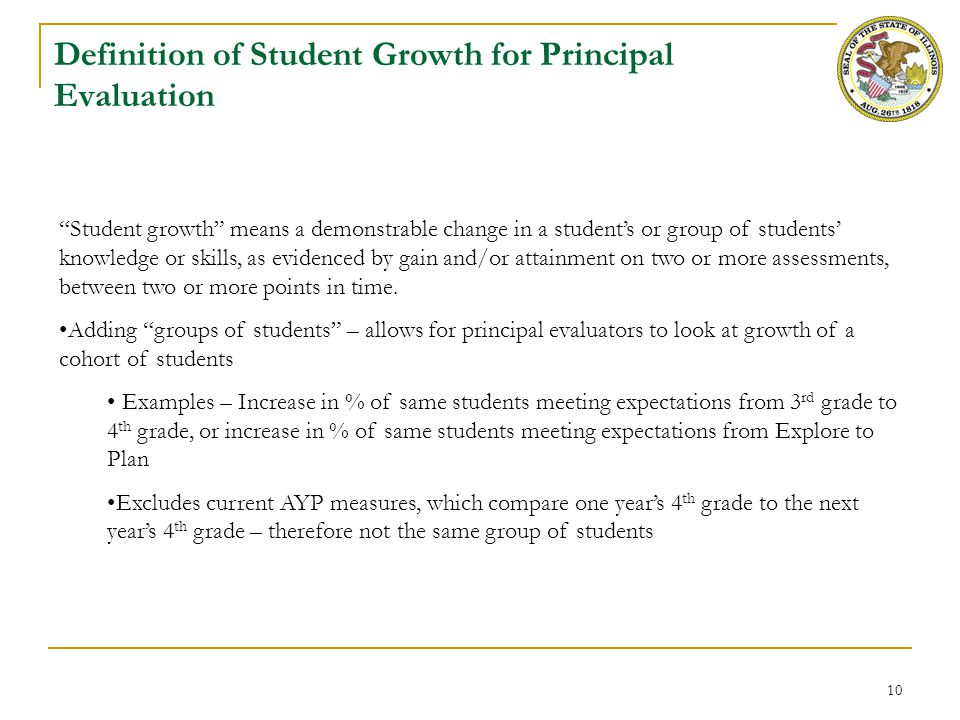 """10 Definition of Student Growth for Principal Evaluation """"Student growth"""" means a demonstrable change in a student's or group of students' knowledge o"""