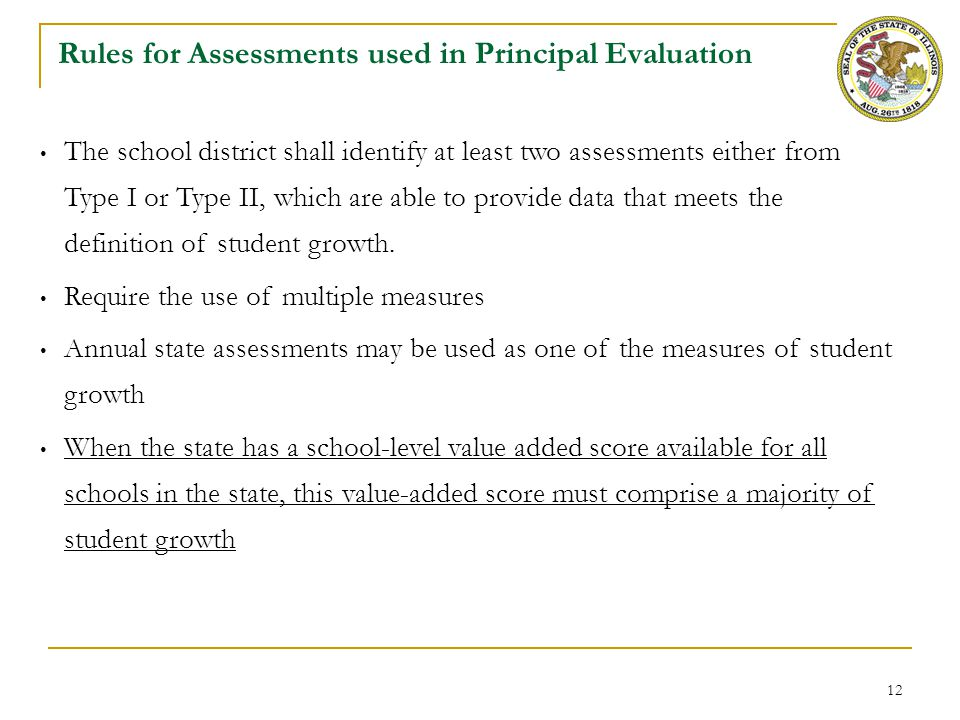 12 Rules for Assessments used in Principal Evaluation 25% The school district shall identify at least two assessments either from Type I or Type II, w