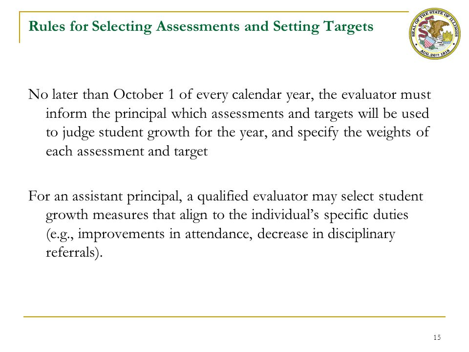 15 Rules for Selecting Assessments and Setting Targets No later than October 1 of every calendar year, the evaluator must inform the principal which a