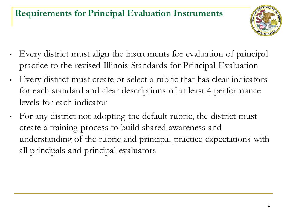 4 Requirements for Principal Evaluation Instruments Every district must align the instruments for evaluation of principal practice to the revised Illi