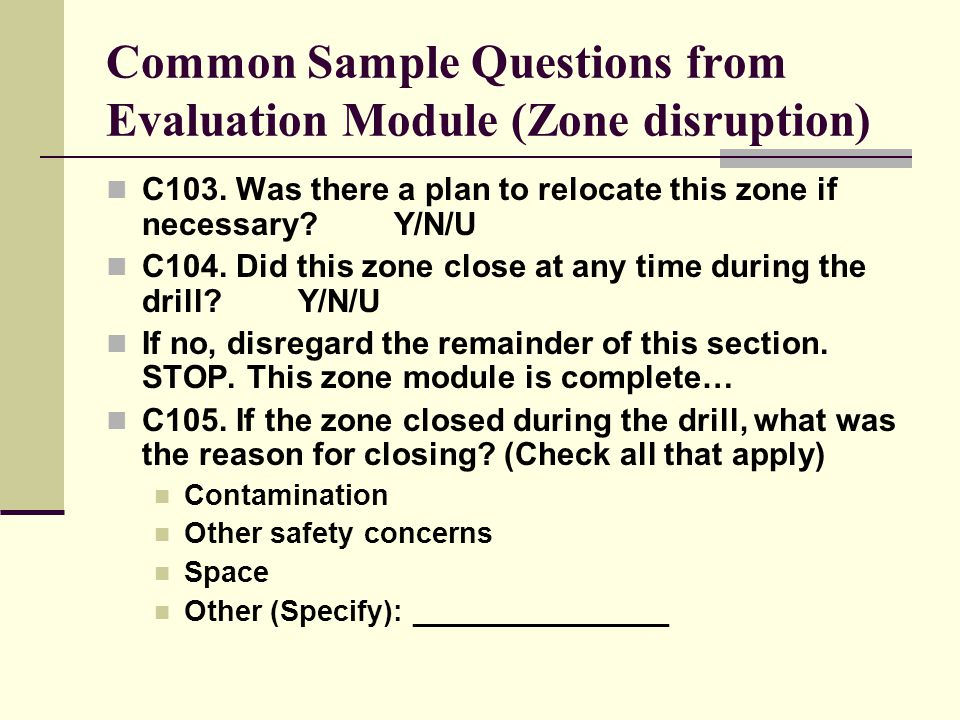 Common Sample Questions from Evaluation Module (Zone disruption) C103.
