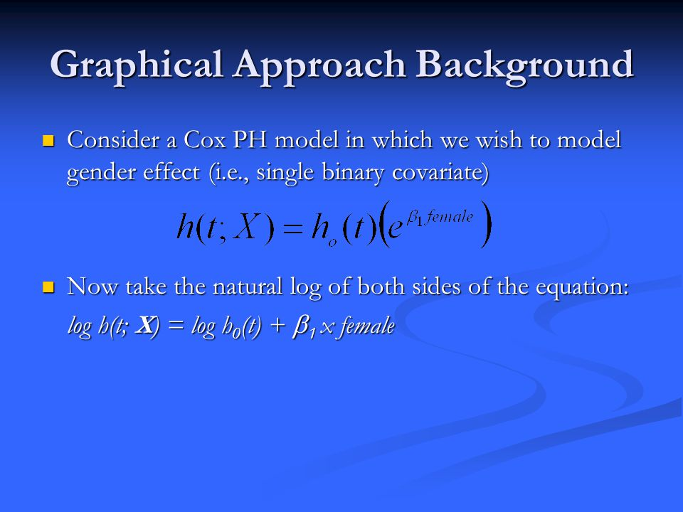 Graphical Approach Background Consider a Cox PH model in which we wish to model gender effect (i.e., single binary covariate) Consider a Cox PH model in which we wish to model gender effect (i.e., single binary covariate) Now take the natural log of both sides of the equation: Now take the natural log of both sides of the equation: log h(t; X) = log h 0 (t) +  1 x female