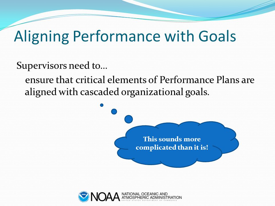 Aligning Performance with Goals Supervisors need to… ensure that critical elements of Performance Plans are aligned with cascaded organizational goals