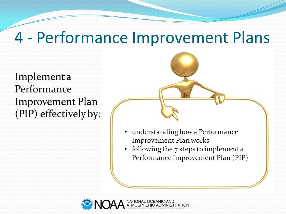 4 - Performance Improvement Plans Implement a Performance Improvement Plan (PIP) effectively by: understanding how a Performance Improvement Plan works following the 7 steps to implement a Performance Improvement Plan (PIP)